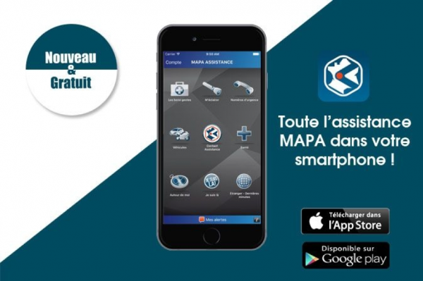 Application mobile MAPA Assistance pour iOS et Android
